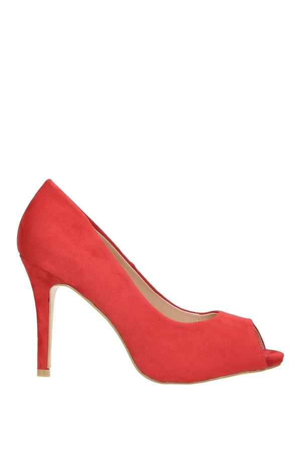 Czerwone szpilki czółenka peep toe ze skórzaną wkładką Casu N189X4/R czerwony