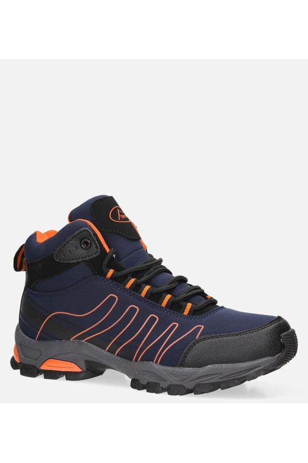 Granatowe buty trekkingowe sznurowane softshell Casu B1530-3 granatowy