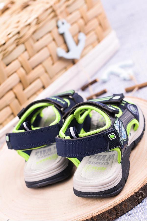 Granatowe sandały na rzepy Casu JF01 granatowy