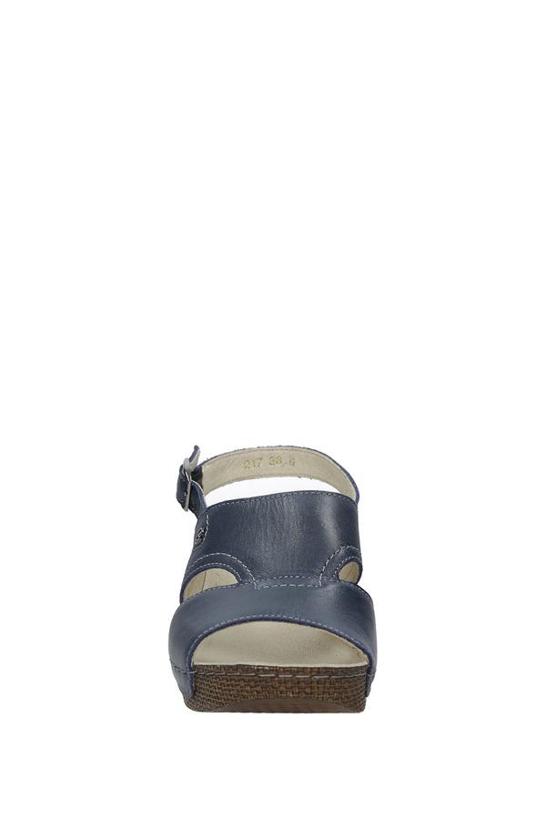 Granatowe sandały skórzane na koturnie Helios 217 granatowy