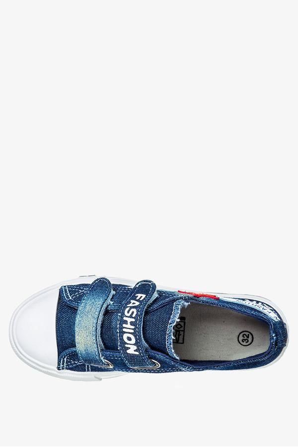 Granatowe trampki jeansowe na rzepy Casu 10/4/21/MGW