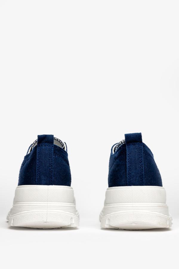 Granatowe trampki na platformie buty sportowe sznurowane Casu ZY202-47
