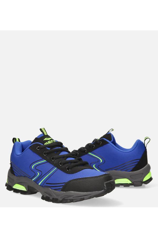 Niebieskie buty sportowe sznurowane softshell Casu B1808-4 niebieski