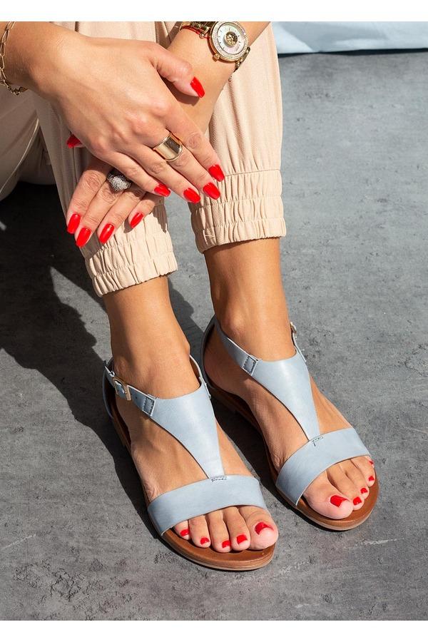 Niebieskie sandały płaskie z zakrytą piętą Casu K20X4/BL niebieski