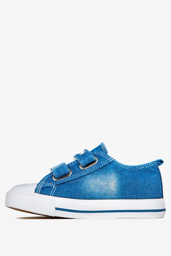 Niebieskie trampki jeansowe na rzepy Casu 10/4/21/MGW