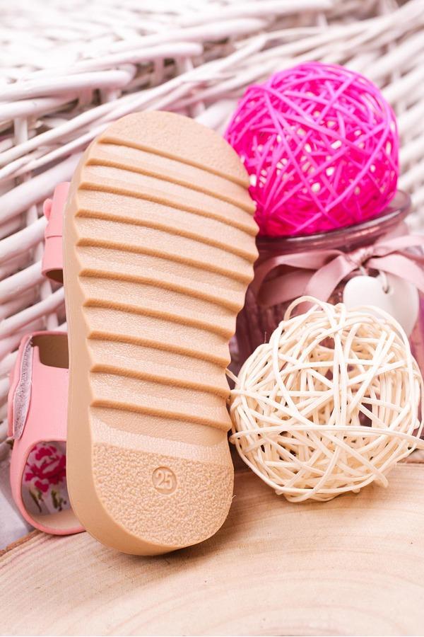 Różowe sandały na rzep z ozdobami Casu HY-13 różowy