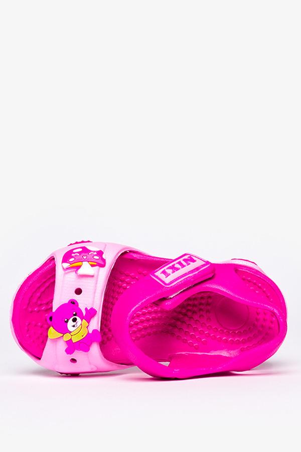 Różowe sandały piankowe na rzep z ozdobą Casu NX517 różowy