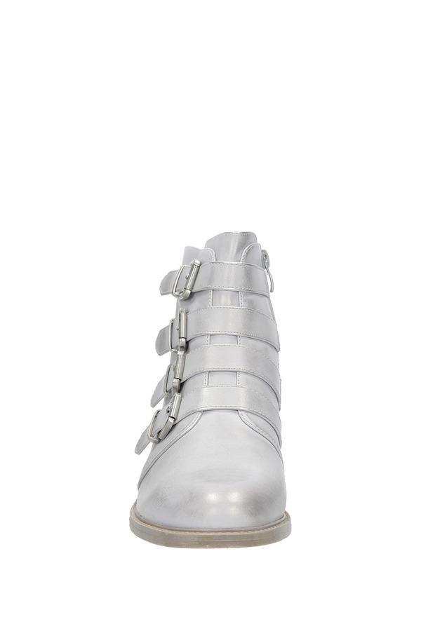 Srebrne botki wiosenne z klamrami Sergio Leone BT302-22P srebrny