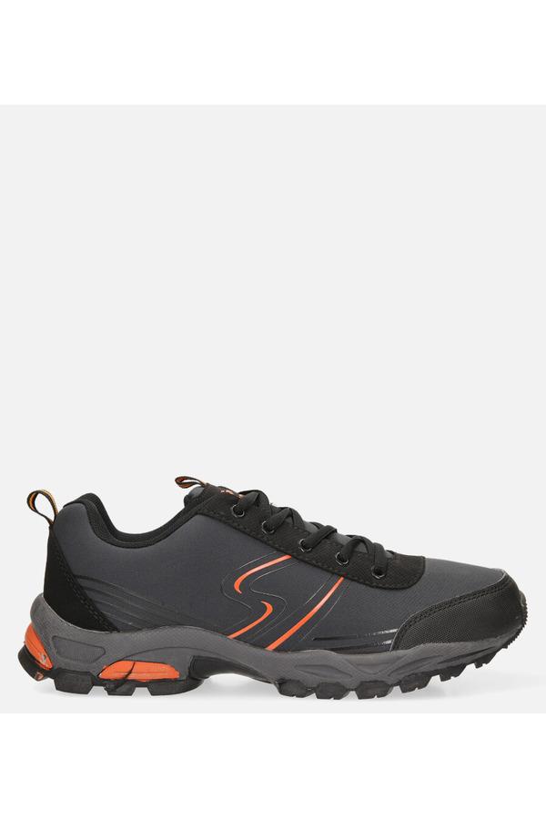 Szare buty sportowe sznurowane softshell Casu A1808-3 ciemny szary