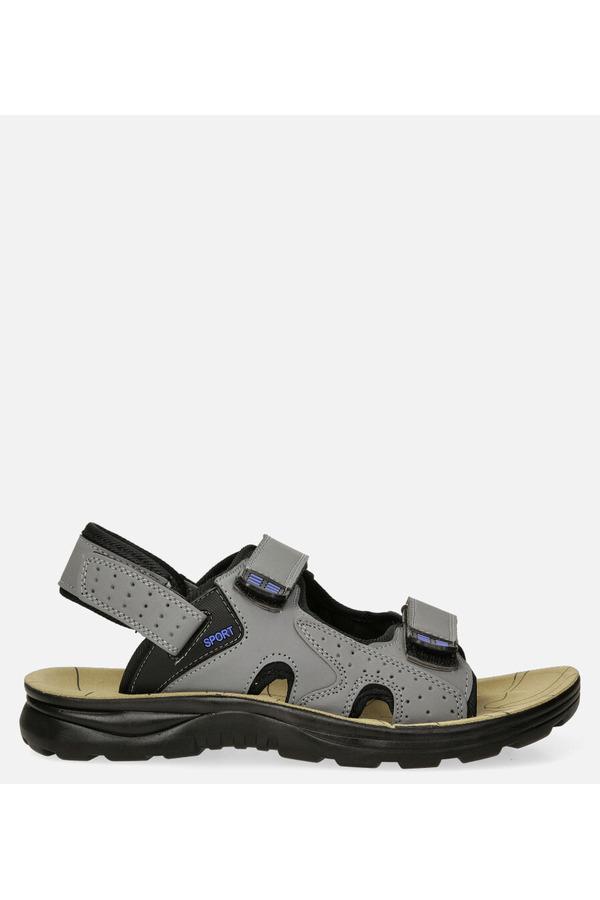 Szare sandały na rzepy Casu M90072 szary