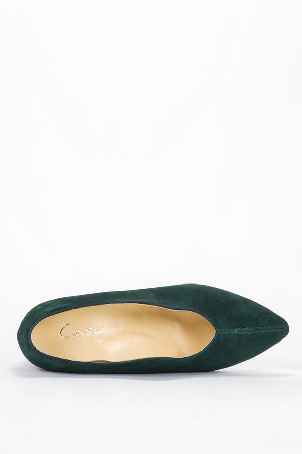 Zielone czółenka Casu na szerokim ozdobnym słupku polska skóra Casu 4040 zielony