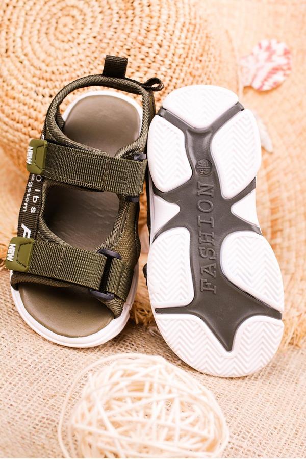 Zielone sandały na rzepy Casu 123B zielony