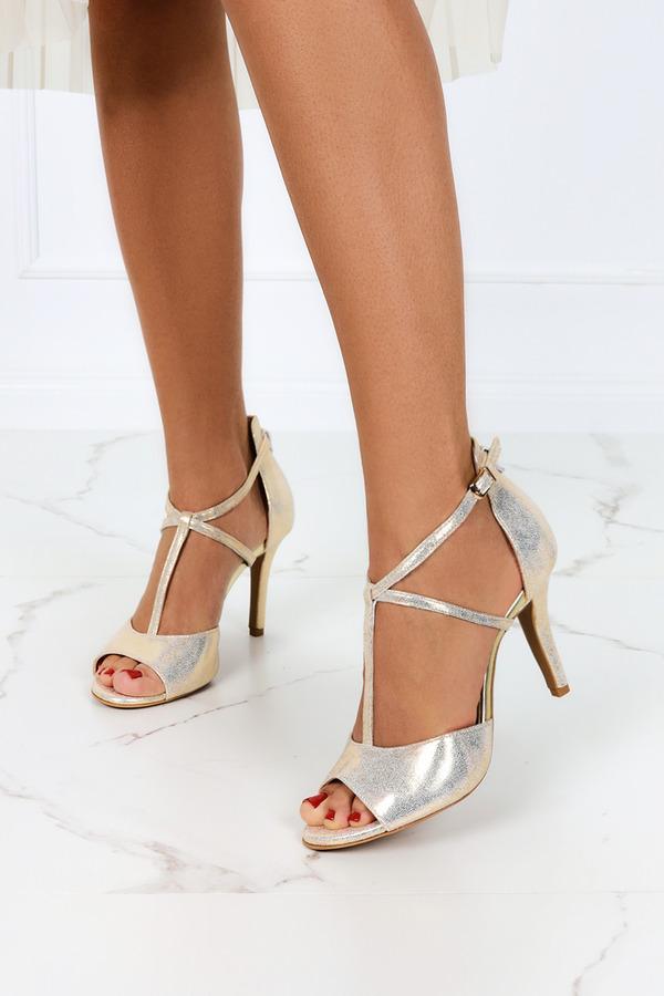 Złote sandały Casu na szpilce z zakrytą piętą polska skóra 2111 złoty