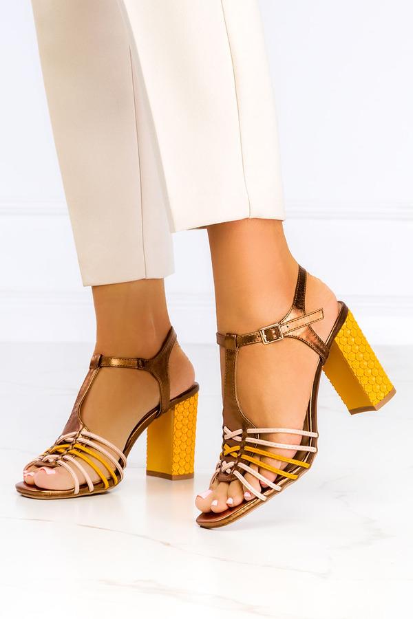 Żółte sandały Casu t-bar na szerokim ozdobnym słupku ER21X8/Y żółty