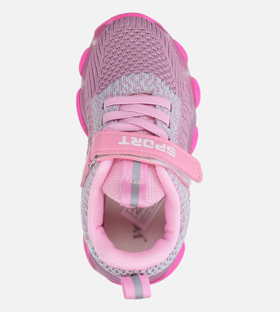 Fioletowe buty sportowe na rzep Casu 706 kolor jasny fioletowy, szary