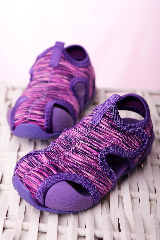 Fioletowe sandały na rzep Casu LA108 fioletowy