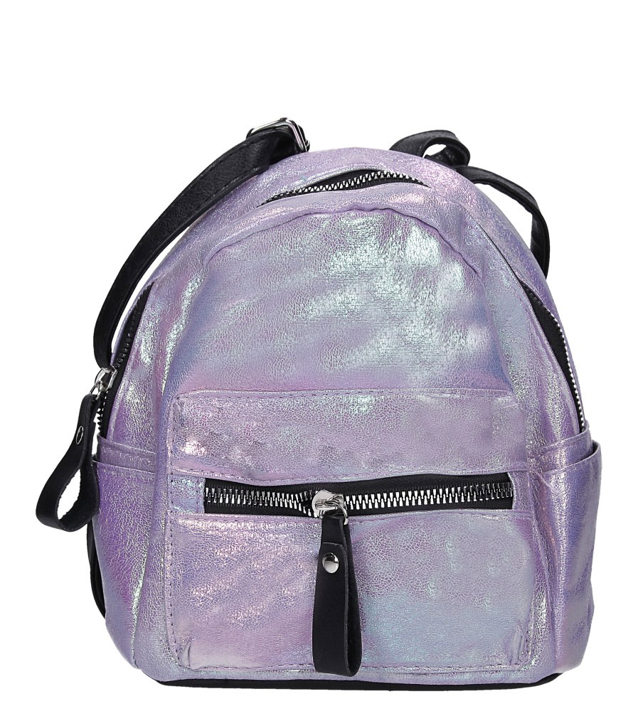 Fioletowy plecak holograficzny z kieszonką z przodu Casu AE-47