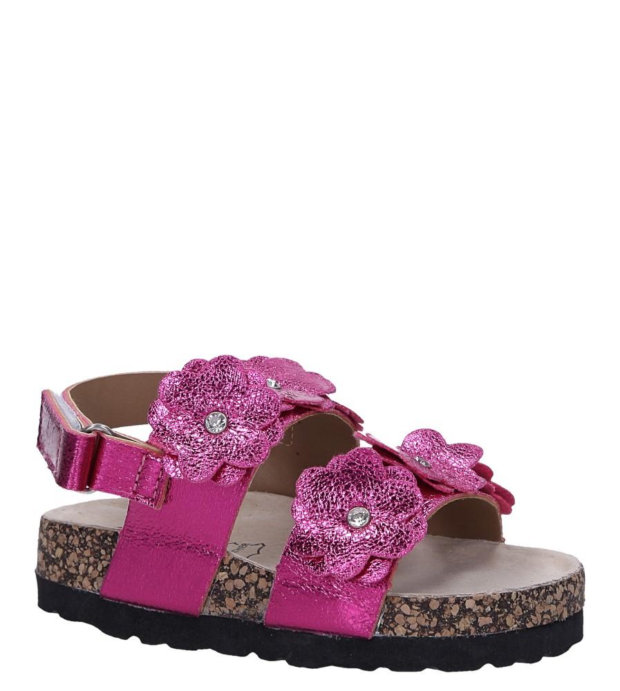 Fuksjowe sandały błyszczące z kwiatkami ze skórzaną wkładką i profilowaną korkową podeszwą zapinane na rzep Casu B19KDX3/F