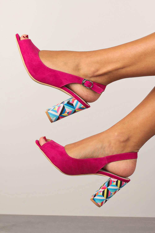 Fuksjowe sandały Casu na ozdobnym słupku ze skórzaną wkładką N20X4/F kolor fuksja