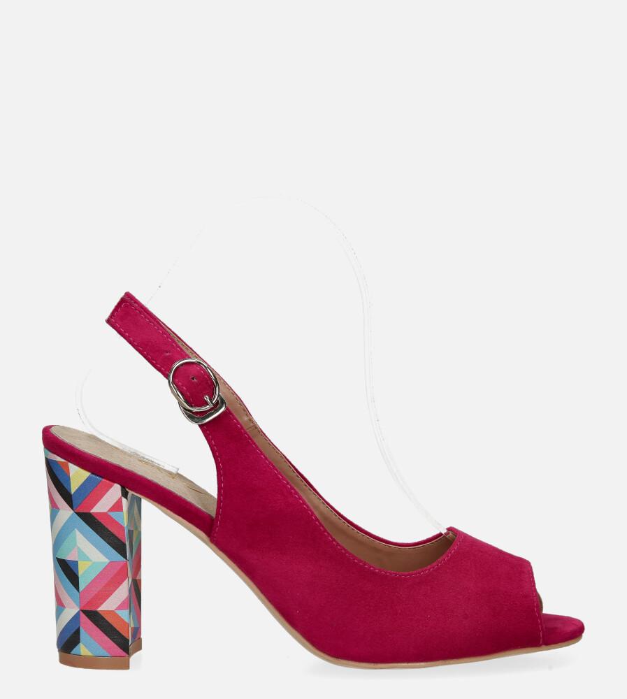 Fuksjowe sandały Casu na ozdobnym słupku ze skórzaną wkładką N20X4/F wysokosc_obcasa 8.5 cm