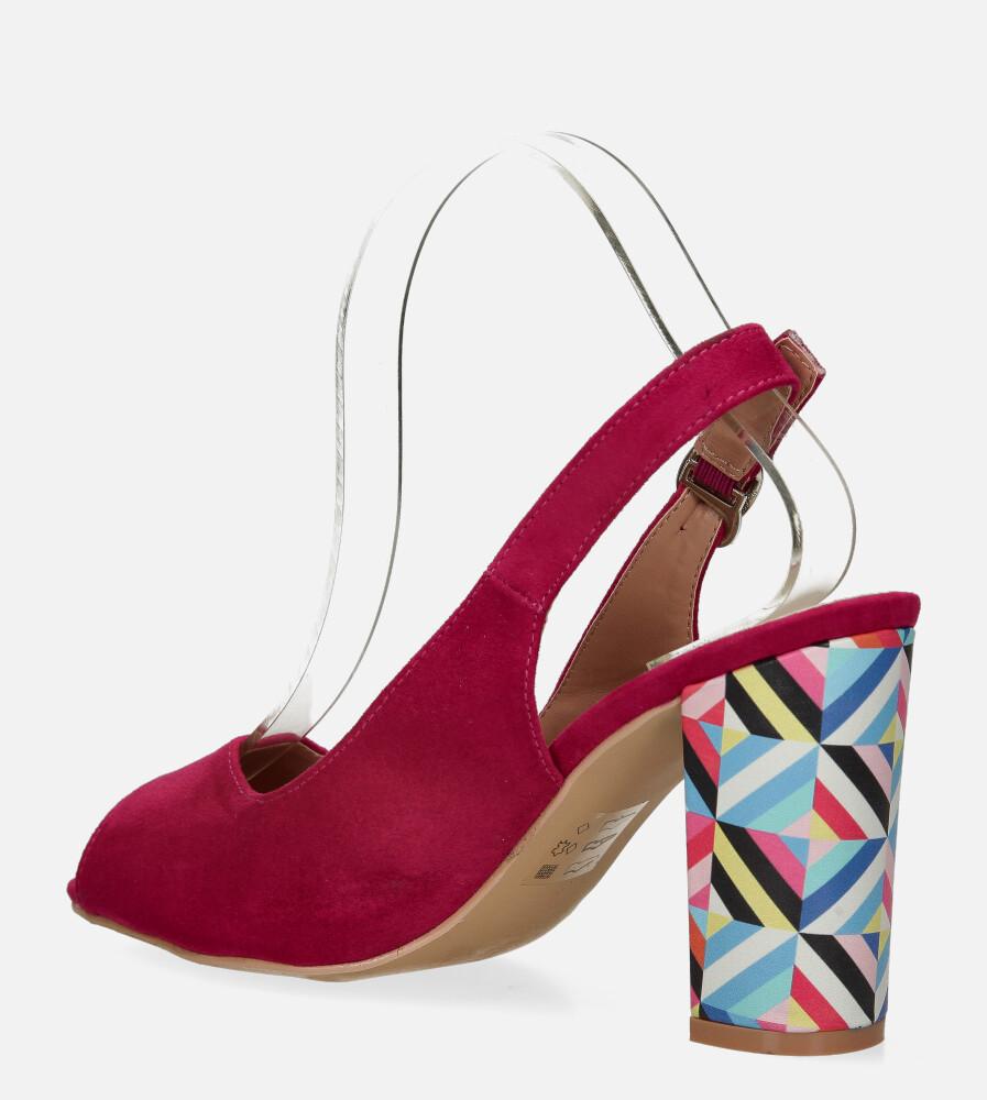 Fuksjowe sandały Casu na ozdobnym słupku ze skórzaną wkładką N20X4/F wysokosc_platformy 0.5 cm