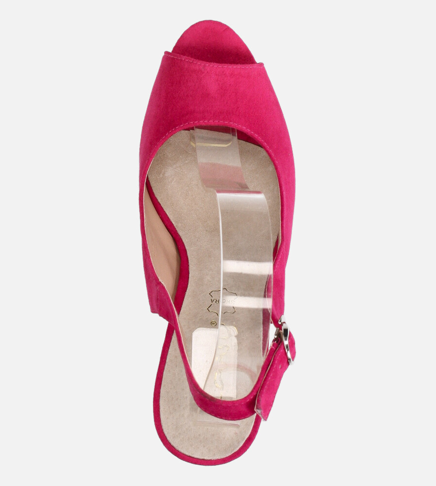 Fuksjowe sandały Casu na ozdobnym słupku ze skórzaną wkładką N20X4/F wys_calkowita_buta 15 cm
