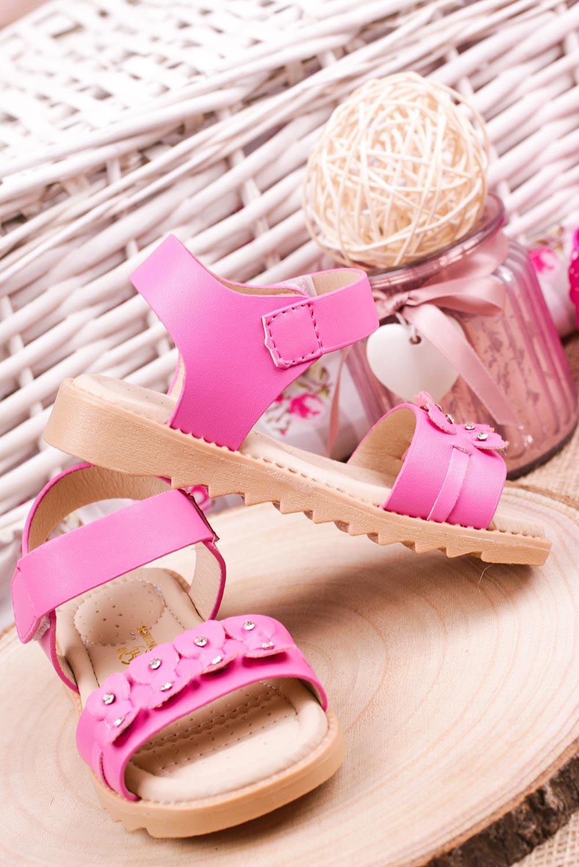 Fuksjowe sandały na rzep z ozdobami Casu HY-13 fuksja
