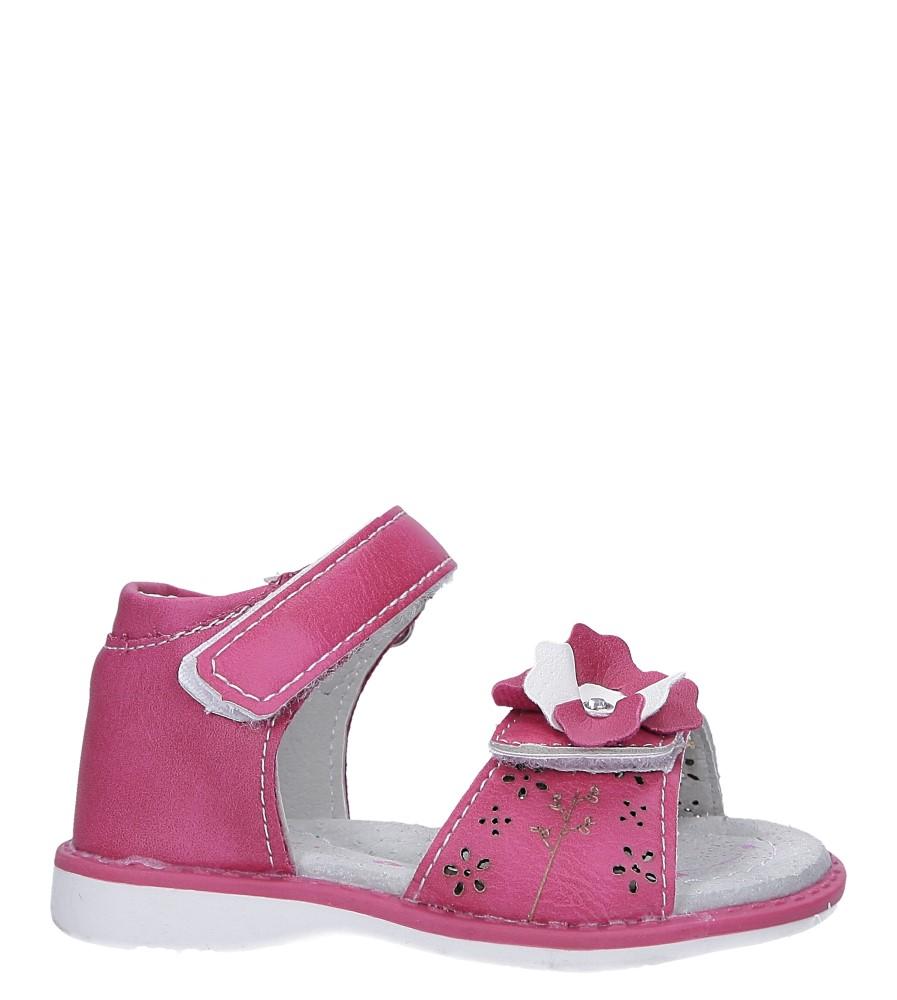 Fuksjowe sandały z kwiatkiem na rzep Casu LA105