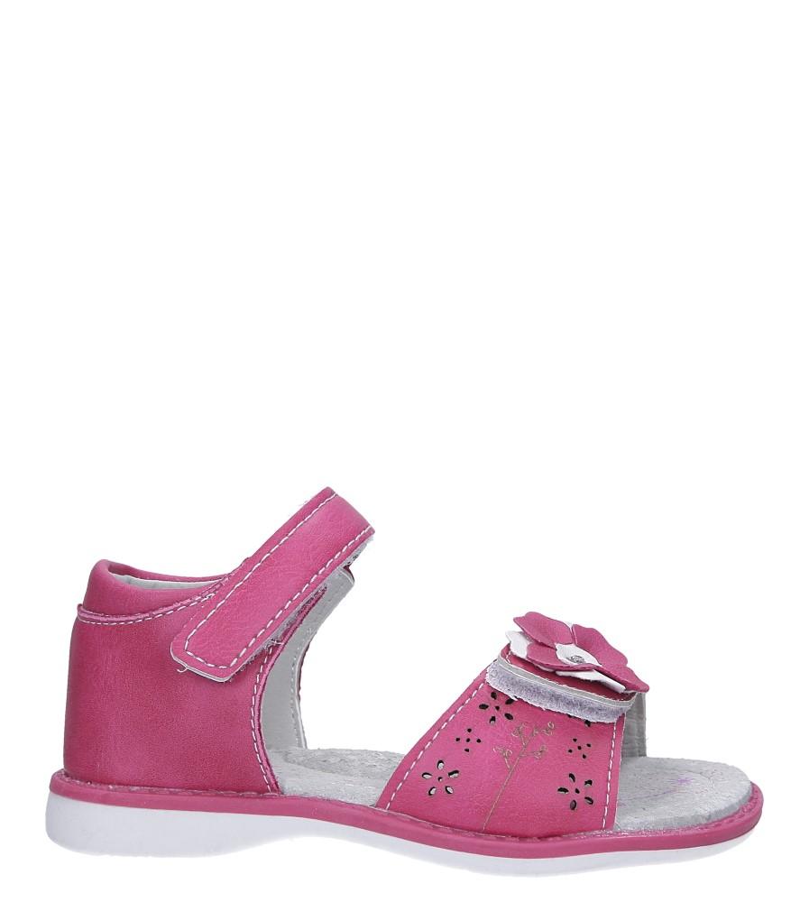 Fuksjowe sandały z kwiatkiem na rzep Casu LA106