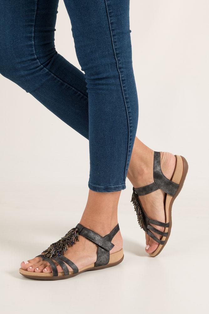 Grafitowe sandały z ozdobami na rzep Rieker K2254-45