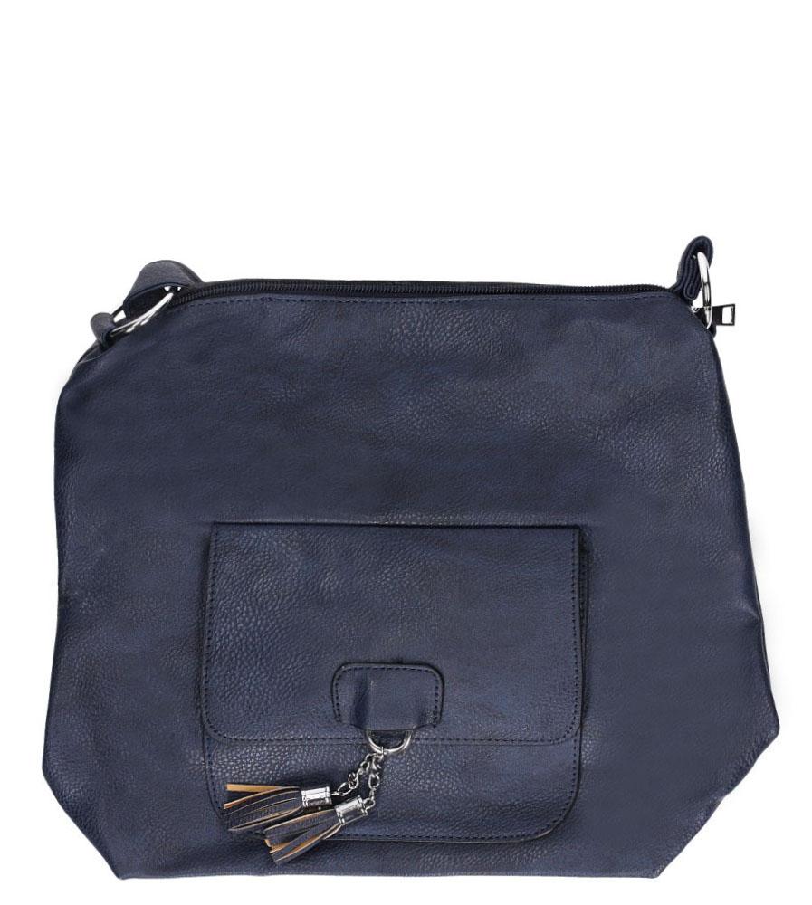 Granatowa torebka listonoszka z kieszonką z przodu i frędzlami Casu AD-54 model AD-54