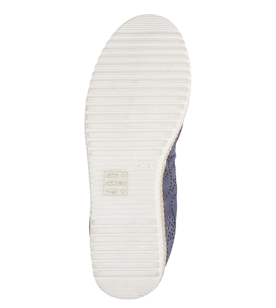 Granatowe baleriny espadryle ażurowe kokardka skórzana wkładka Casu W19X1/N wierzch skóra ekologiczna - nubuk
