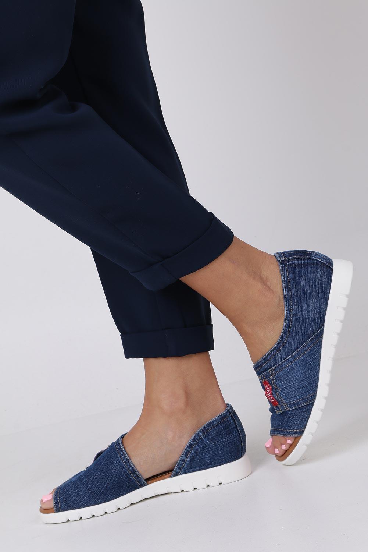 Granatowe baleriny jeansowe z okrytymi palcami Jezzi ASA110-1