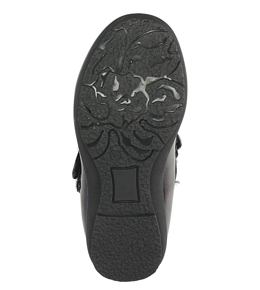 Granatowe baleriny lakierowane z ozdobą na rzep ze skórzaną wkładką Casu D-613 wysokosc_obcasa 1.5 cm