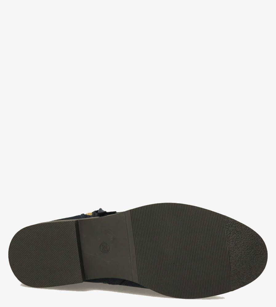 Granatowe botki płaskie z ozdobnym suwakiem Casu G20X7/N obwod_w_kostce 27 cm