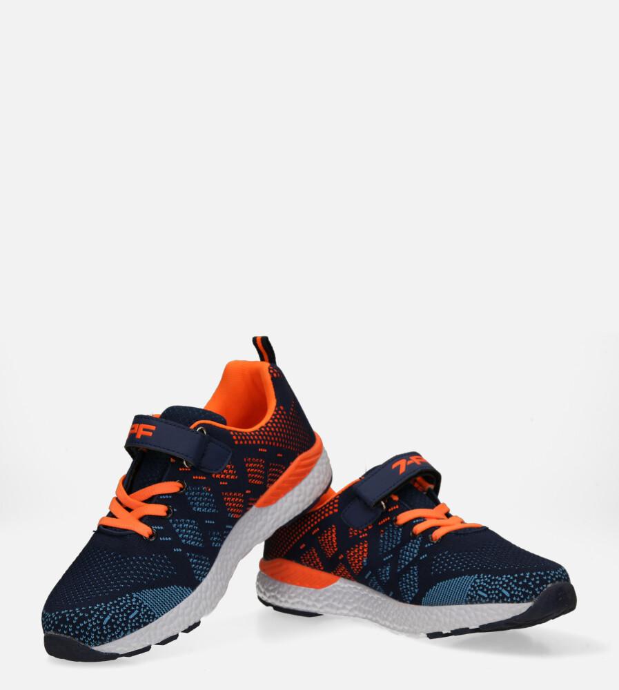 Granatowe buty sportowe na rzep Casu 20P8/M/2 kolor granatowy, pomarańczowy