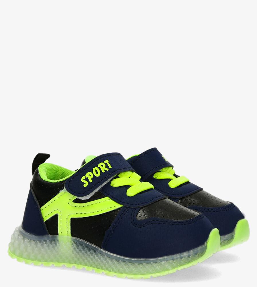 Granatowe buty sportowe na rzep Casu 20X4/M
