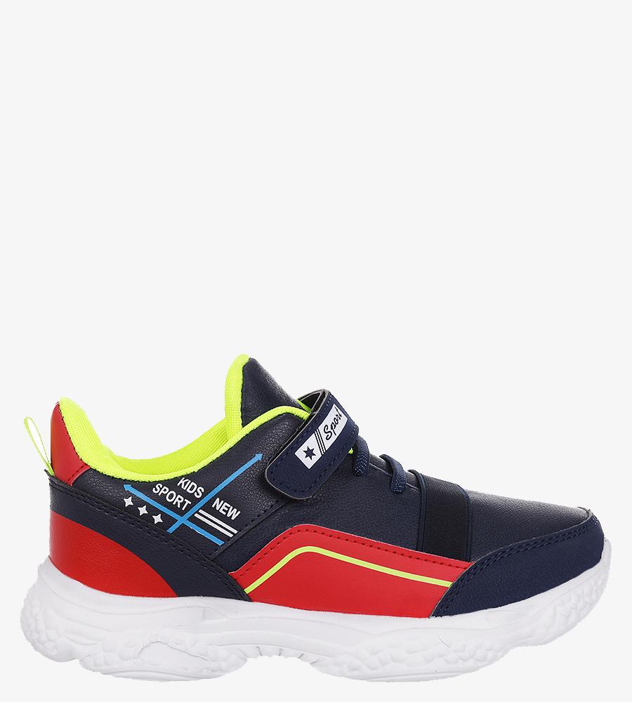 Granatowe buty sportowe na rzep Casu 5XC8061-S granatowy