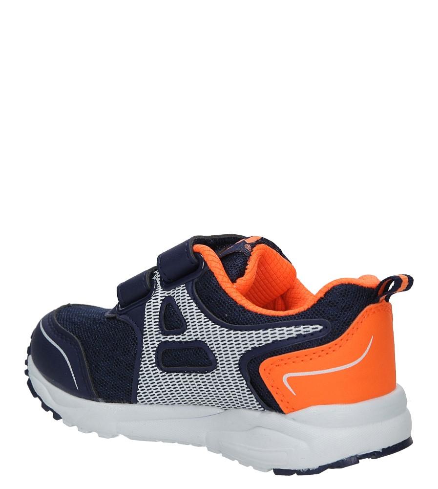 Granatowe buty sportowe na rzepy Casu F-691 kolor granatowy, pomarańczowy