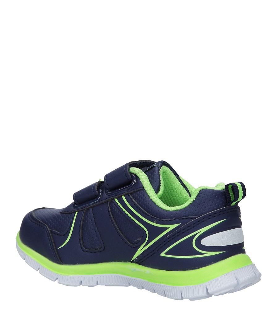 Granatowe buty sportowe na rzepy Casu F-706 kolor granatowy, seledynowy