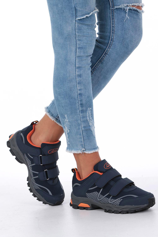 Granatowe buty sportowe na rzepy softshell Casu B1529B-2 sezon Całoroczny