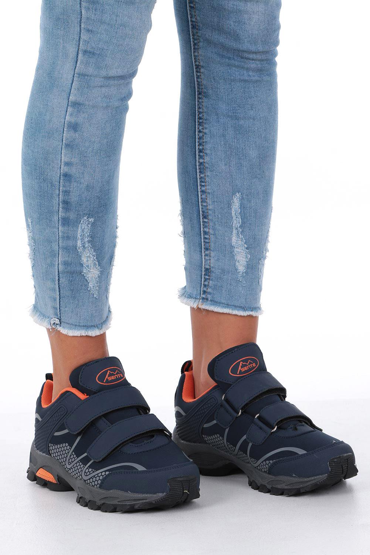 Granatowe buty sportowe na rzepy softshell Casu B1529B-2 kolor granatowy, pomarańczowy