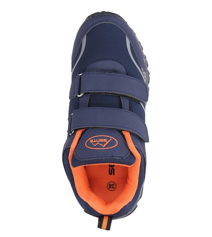 Granatowe buty sportowe na rzepy softshell Casu B1529B-2 wnetrze materiał