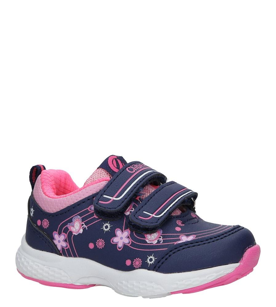 Granatowe buty sportowe na rzepy z kwiatkami Casu F-708