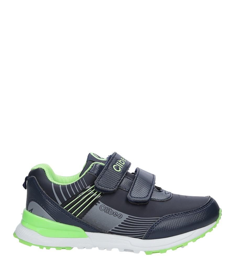 Granatowe buty sportowe na rzepy ze skórzaną wkładką Casu F-695