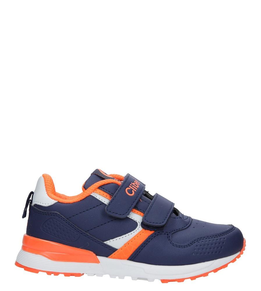 Granatowe buty sportowe na rzepy ze skórzaną wkładką Casu F-696
