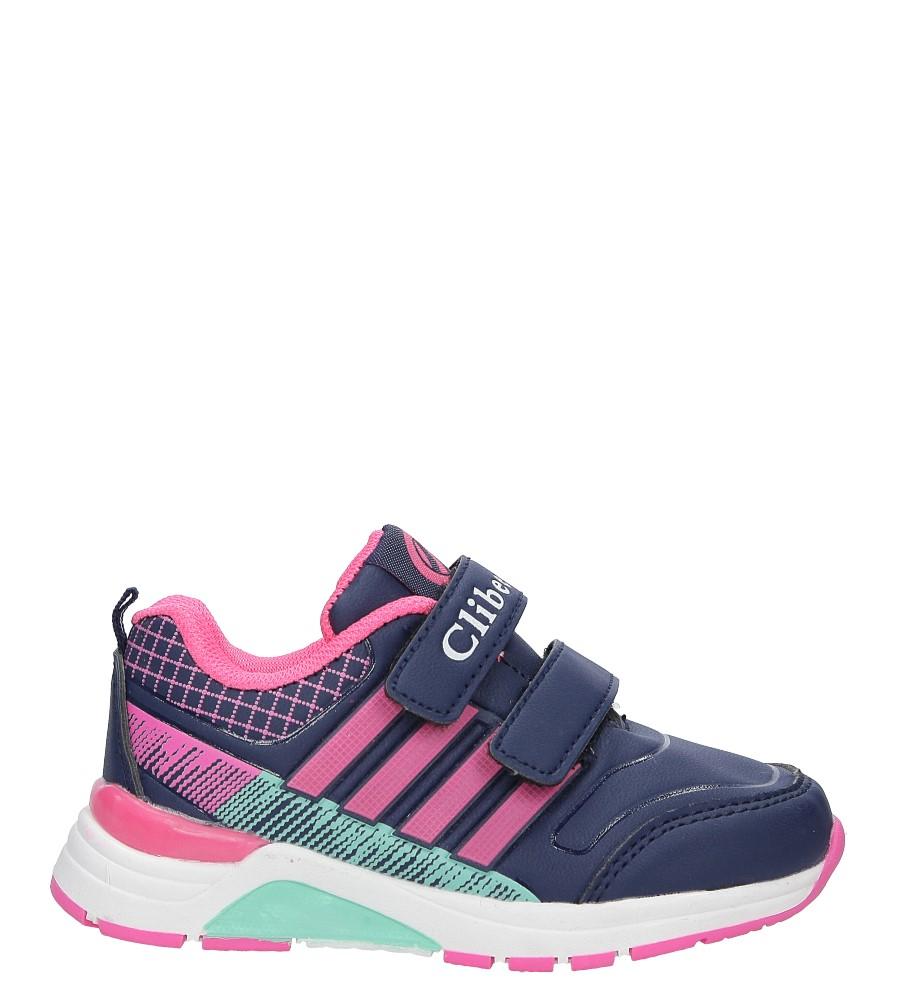 Granatowe buty sportowe na rzepy ze skórzaną wkładką Casu K-169