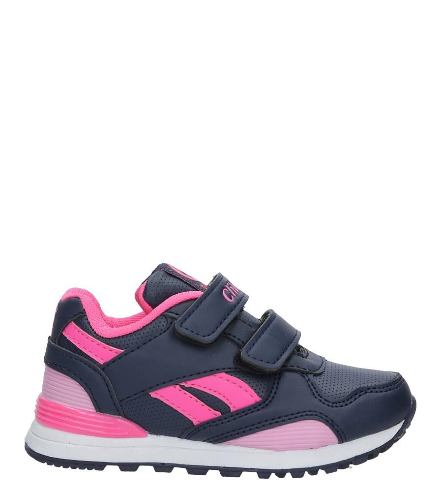 Granatowe buty sportowe na rzepy ze skórzaną wkładką Casu K-185