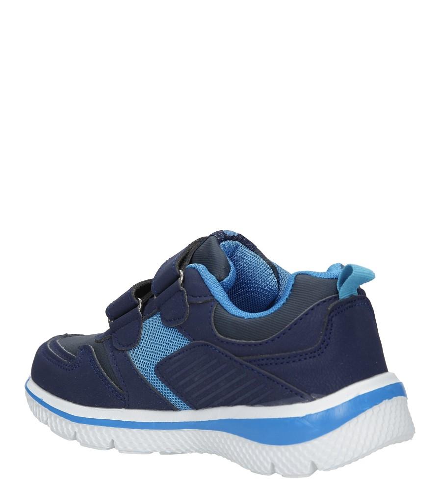 Granatowe buty sportowe na rzepy ze skórzaną wkładką Casu K-219 sezon Całoroczny