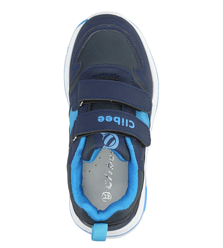 Granatowe buty sportowe na rzepy ze skórzaną wkładką Casu K-219 kolor granatowy